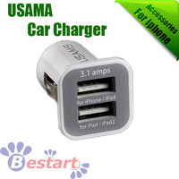 Free HK Post, USAMS Dual Port USB Car Charger For iPhone5 / iPAD / PDA MP3 MP4 Mobile Phone, 3.1A 3100Mah 5V, Mini Auto Charger