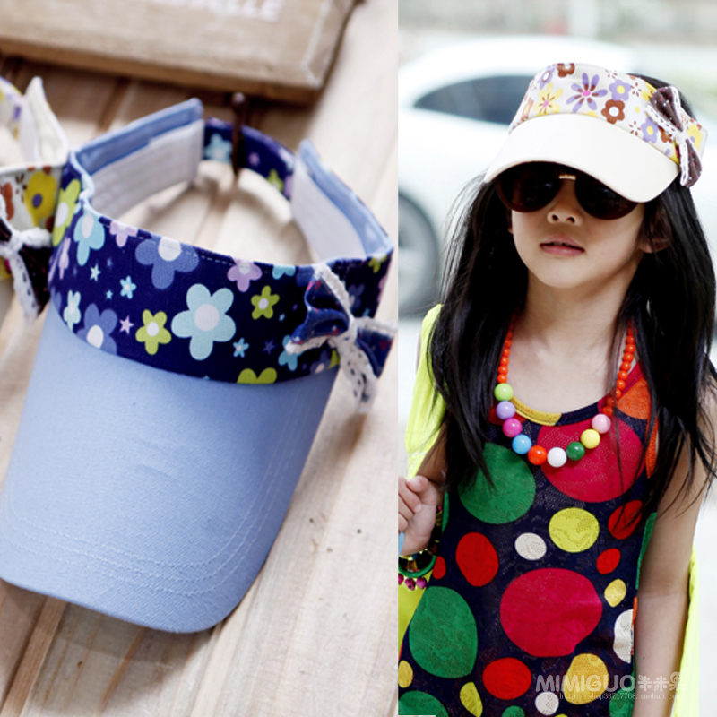 Free shipping Children's clothing velcro canvas print bow empty top sunbonnet parent-child cap -1dc(China (Mainland))