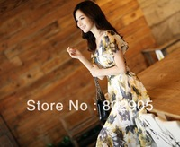 Summer Fashion Lady's Chiffon Dress large size  Women one piece dresses free shipping