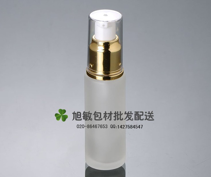 Capacity 30ml free shipping 50pcs/lot factory wholesale glass bottle pump lotion bottle with gold color(China (Mainland))