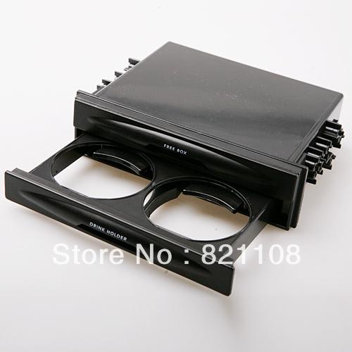 Frete grátis Car Universal áudio Double Din rádio de bolso Kit w / Drink- Porta-copos + caixa de armazenamento(China (Mainland))