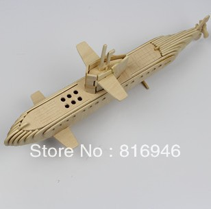 Free shipping! Intelligent educational toy 3D ship model wooden puzzle DIY woodcraft consturction kit handmade submarine(China (Mainland))