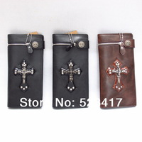 Men wallets Trendy rocker skull cross leather unisex wallets Cool punk long leather wallets stylish wholesale cowboy wallets