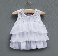 CS3083   free shipping Kids girls cotton  sleeveless  white blouse 1 lot/ 5pcs