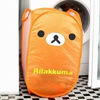Free Shipping 4pcs/lot Rilakkuma Relaxed Bear Dirty clothes basket Folding laundry/Portable Storage basket Wholesale