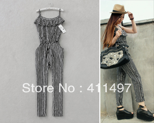 Free Shipping Free Size Women Summer Silk Cotten Long Maxi Pants,One Piece Hony Stripped Jumpsuits*Rompers