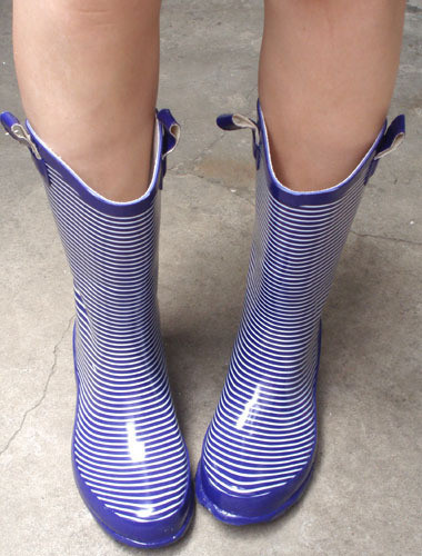 Big knee-high purple stripe ear buckle rain boots water shoes rubber shoes(China (Mainland))
