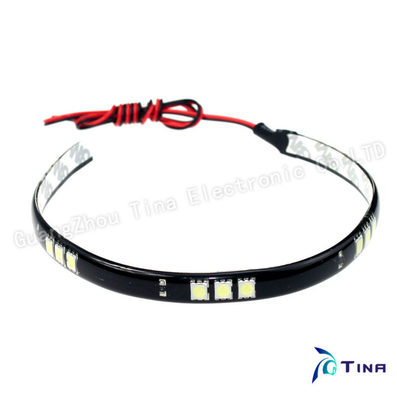 2013 Free Shipping 10pcs/lot 30cm 15 SMD 5050 White/Red/Blue/Green Waterproof Flexible LED Strip TL012p 30cm Length Car Strip(China (Mainland))