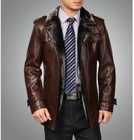 FreeShipping! New Arrival Men's Fashion Leather Clothing Men's Real Leather Jacket Medium-Long Suit Collar Men's Clothing