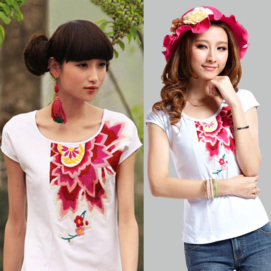 Fashion national embroidery trend big flower top slim plus size short-sleeve T-shirt female(China (Mainland))