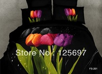 Free Shipping -   3D Tulip Unique Oil Painting Bedding Set