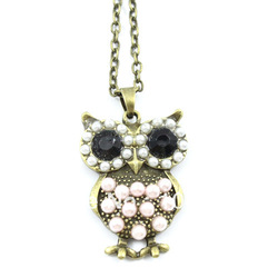 Vintage Style Crystal Eye Rhinestone Bronze Bird Owl Pendant Necklace Fashion LKX0132 DropShipping& Free Shipping(China (Mainland))