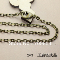 free shipping!!! 27inch 2*3mm antique bronze jewelry chain with lobster clasp 100pcs/lot