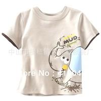 Free shipping Baby Boys Cartoon Elephants 100%cotton T-shirt Khaki Pullove Summer Thin Top For1T-6T 6pcs/lot 1161