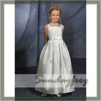 Custom Made A-Line Flower Girl Dress Floor-length Taffeta Ruffle Ruched Tie First Communion Dress Beaded Wedding Party Dress-FL3