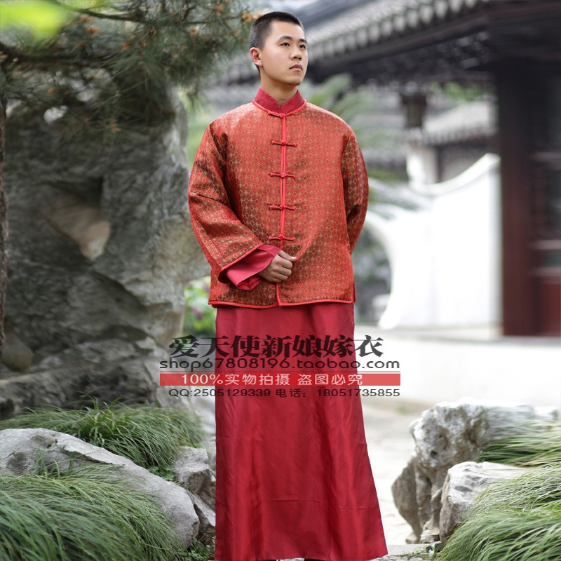 Chinese style wedding male tang suit the groom married tang suit formal dress red clothes chinese style hanfu male costume(China (Mainland))