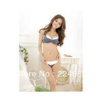 X00010BEIE Magic Comfortable Lace Bowknot Shaped Jean Cotton Women Bra Sets free shipping2013
