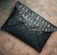 Free shipping wholesale 2014 new women's fashion skull  envelope bag messenger handbag day clutch one shoulder handbag