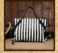 2013 Newest Sheepskin Patchwork Black White Stripe Bag Genuine Leather Fashion Bags Women Free Shipping