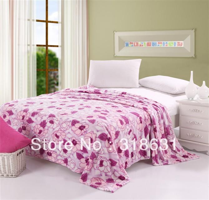 200 gsm tecido macio velo coral flor roxa impresso bonito em cobertor