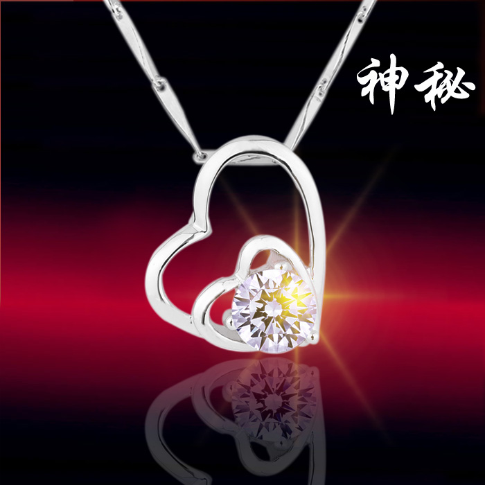 free shipping Love crystal necklace set 925 pure silver jewelry mother day gift(China (Mainland))