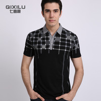 Fashion 2013 male turn-down collar short-sleeve plaid T-shirt casual loose plus size t-shirt