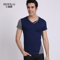 Fashion short-sleeve T-shirt 2013 male personality V-neck male short-sleeve casual t-shirt