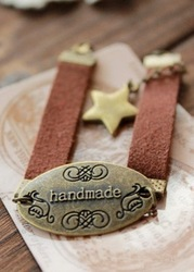 Contracted adorn article wide leather cord little stars spell magic bracelet bracelet restoring ancient ways(China (Mainland))