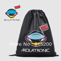 Free shipping Black high-capacity drawstring backpack / clothing finishing bag / shoe bag storage