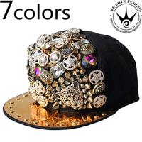 Free shipping!2014 new arrived hot sale fashion designer Punk rivet leopard head hiphop hat flat brim cap