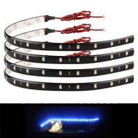 4x 30cm 15 Blue LED Waterproof Flexible Car Grill Strip Light Lamp Bulb