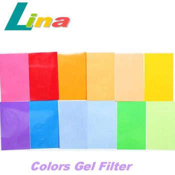 Wholesale 10pcs/lot 12 Colors Gel Set New Flash Light Speedlite Color Gel Filter With Velcro Paste Free Shipping