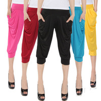 Free shipping All-match candy color viscose harem pants female casual capris pants legging 079