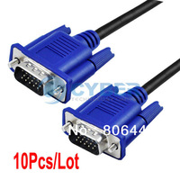 Wholesale 10Pcs/Lot Blue 5FT 1.4M VGA Cable VGA/SVGA HDB15 Male to Male Extension Monitor Cable 428