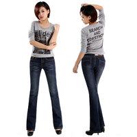 Summer women's high waist jeans elastic women's bell-bottom jeans plus size jeans