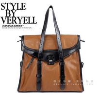 Orange bag vintage messenger bag Large color block bag color block decoration bag large handbags handbag shoulder bag