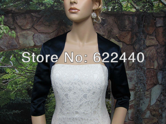 Free Shipping Custom-made Black Satin Long Sleeves Wedding Jacket And Wraps(China (Mainland))