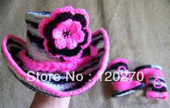 Free shipping Children's Caps Newborn Crochet Striped Flower Beanies Baby Girls Hats + Knitted Snow Boots Booties Footwear Set