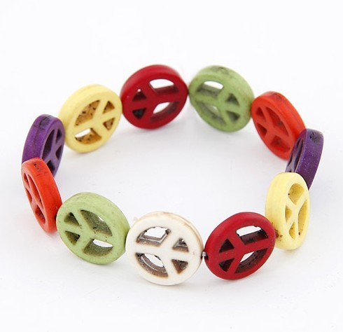 Free Shipping(Min order $15+gift)2013 New Arrival Retro 7 Colors Cross/Skull Head/Peace Symbol Resin Stretch Bracelet(China (Mainland))