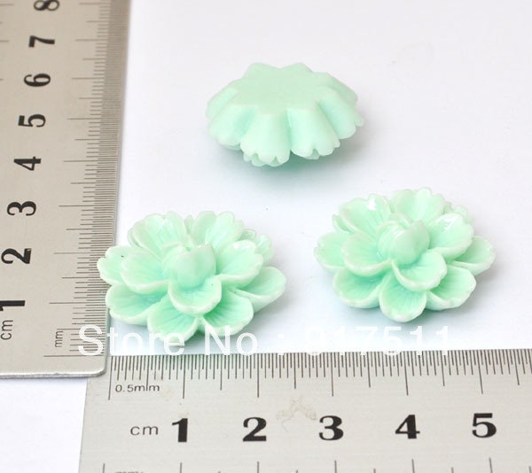 5PCS Mint Green lotus Flower Flatback Resin Accessories for Jewelry Decoration Cell Phone Case Accessory(China (Mainland))