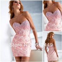 Wholesale Fashion New Designer Hot Pink Sheath Lace Mini Short Prom Dress Cocktail Dress 2013