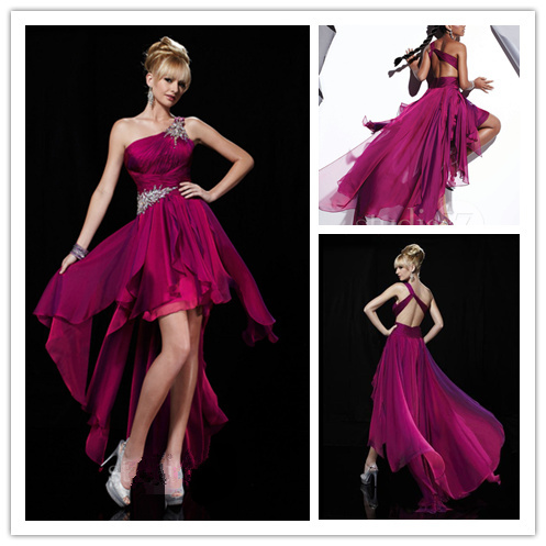 2013 Best Empire One Shoulder Ruched Beading High Low Fuchsia Chiffon Prom/Cocktail/homecoming Dresses(China (Mainland))