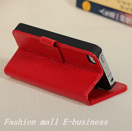 FADDIST Brand New Genuine Leather case For Apple iphone 4 4s protective phone cover with credit card DHL Free shipping(China (Mainland))