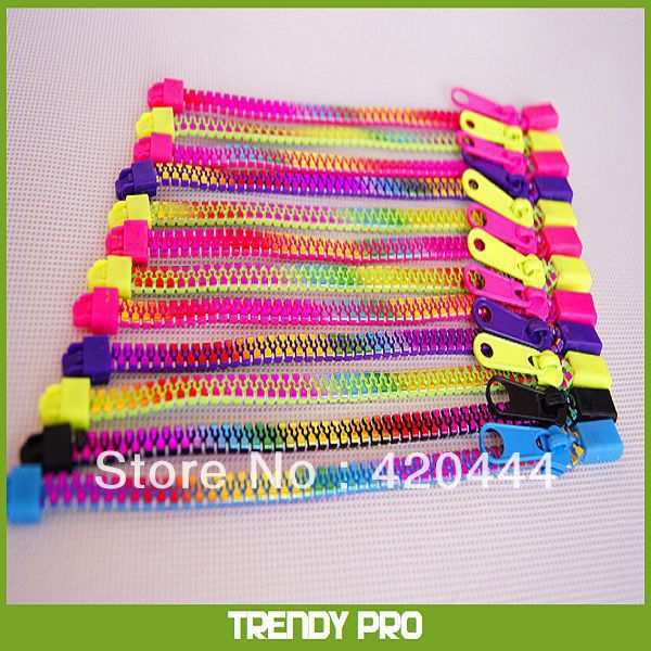 Free shipping rainbow color amazing colorful zipper bands(China (Mainland))
