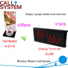 Top Sale Wireless Pager System 1 set of 30pcs call button with menu holder and 1pcs LED display DHL Shipping Free