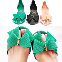 Summer fashion candy color plastic women's shoes bow sandals open toe crystal jelly shoes  (With free shipping for $10)
