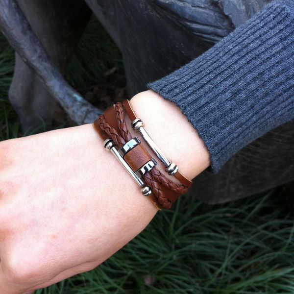 Male bracelet jewelry multi-layer fashion cowhide genuine leather gift birthday gift(China (Mainland))