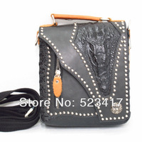 Cool punke rock style rivet skull bags corss body bags unisex wholesale bags leather cool stylish matted handbags free shipping