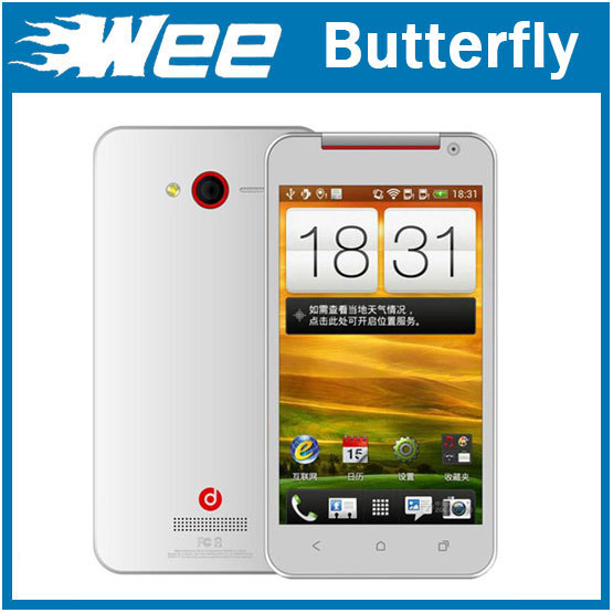 Free shipping! X920E Butterfly phone Droid DNA 5.0&quot; MTK6515 Dual sim Wifi Android 4.0 OS,with free gift!(China (Mainland))