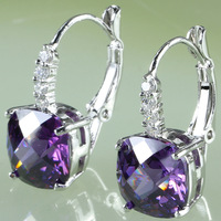 wholesale  AAA Zircon Oval Amethyst & White Topaz Dangle Hook Silver Earring Free Shipping